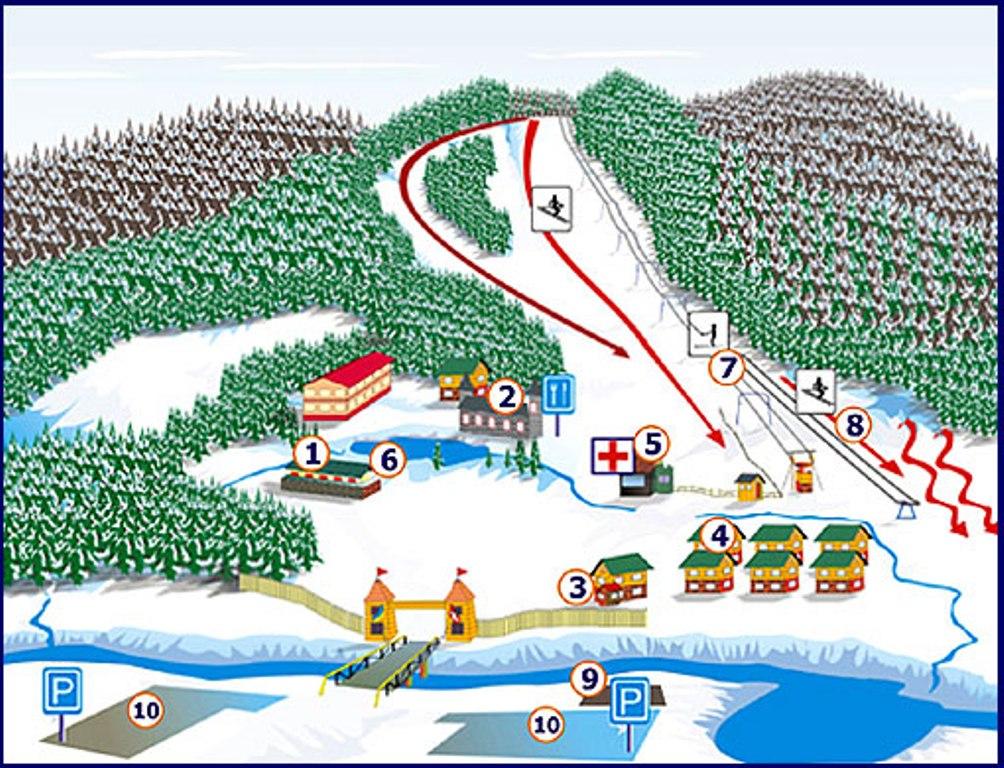 Горнолыжный курорт Мигово - схема трасс и подъемников, отдых на курортах Черновицкой области.